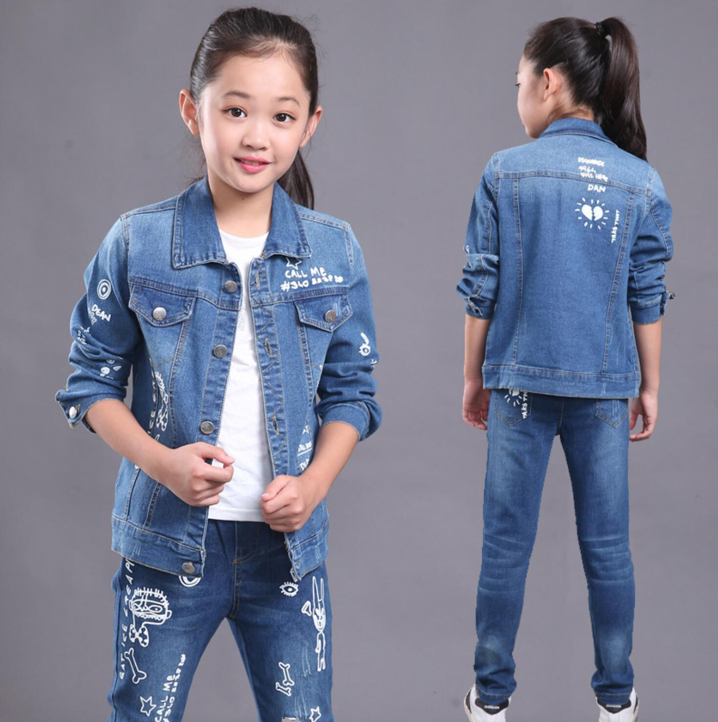 2018 New Kids Girls Layers Print Cowboy Butterfly Tops + Denim Pants ...