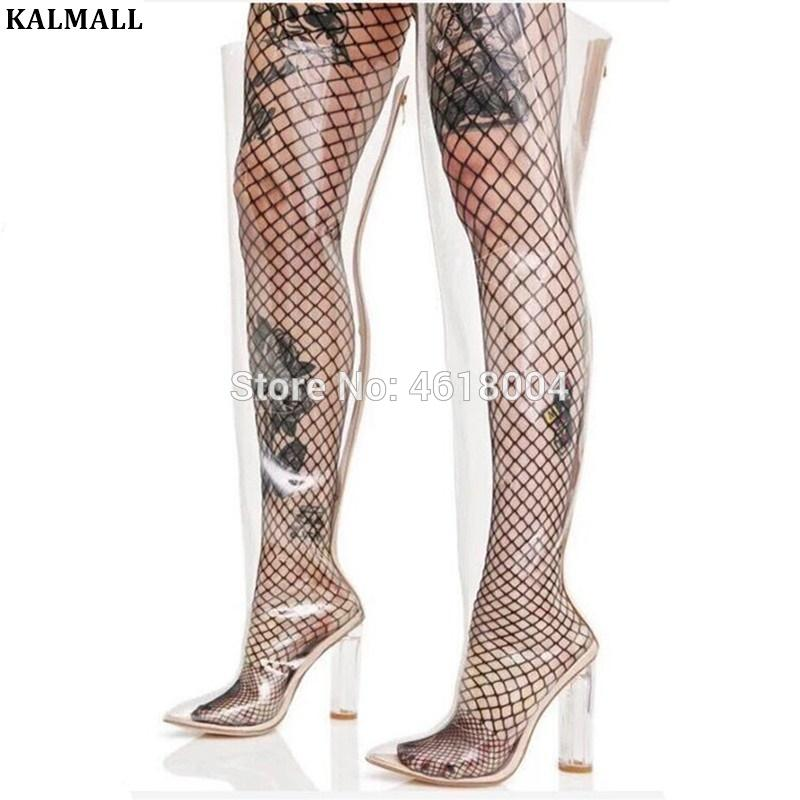 8c4a566229 KALMALL PVC Thigh High Boots Crystal Block High Heels Pointed Toe Clear  Over Knee Booties Summer Boots Women Runway Plus Size Canada 2019 From  Palexxx, ...