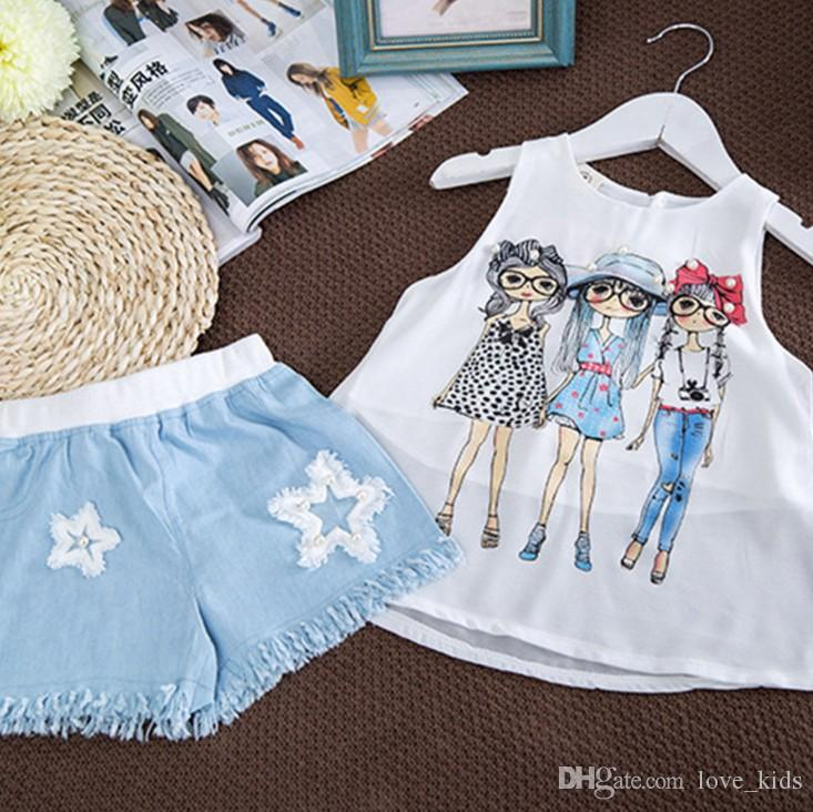 New baby girl chiffon vest tank top+ denim shorts suit kids summer outfits children clothing set