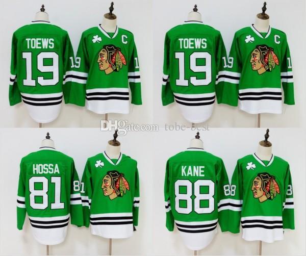 sale retailer 02b75 6973f Green Chicago Blackhawks Jersey 19 Jonathan Toews 81 Marian Hossa 88  Patrick Kane Jersey Stitched Hockey Jerseys