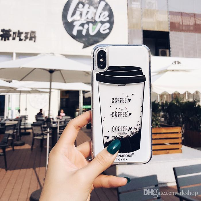 for iphone x case liquid coffee quicksand bottle cover for iphone 7 8 plus 6 6s xs max xr dynamic Glitter back cover