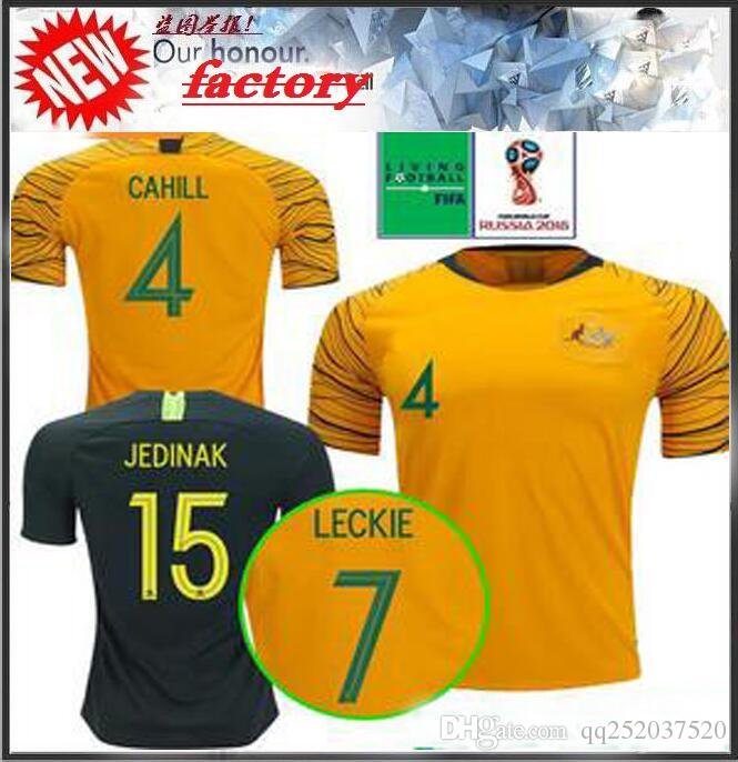 b283a07af 2019 World Cup 2018 Australia Soccer Jersey Home Yellow Away Green 18 19  JEDINAK LECKIE MILLIGAN CAHILL Football Shirts Top Quality Cstomize From ...