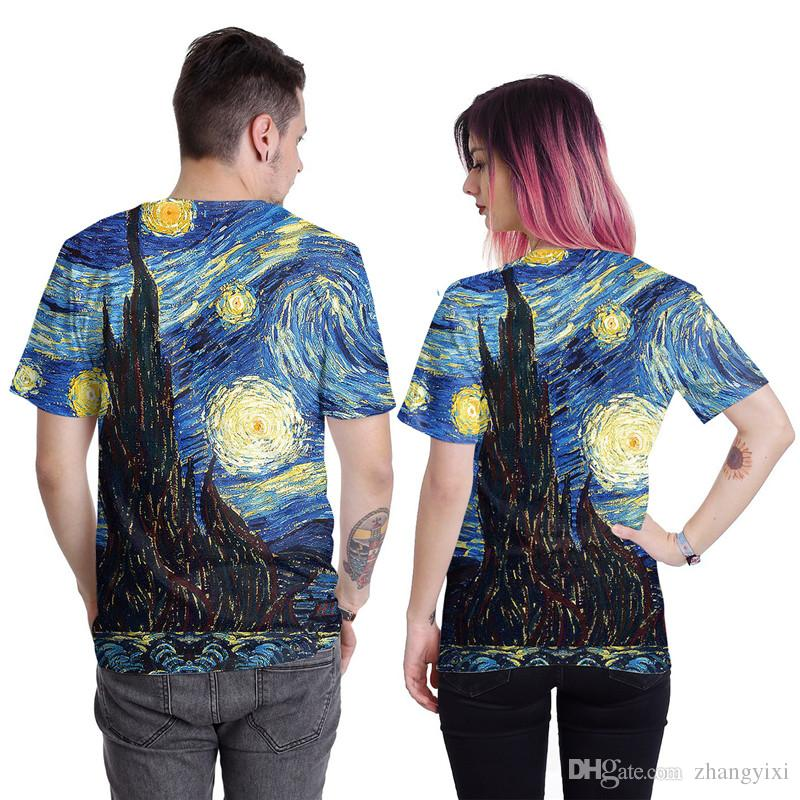 Wholesale Harajuku Style Men Women Galaxy Starry Night Leopard Lip Print 3d Sublimation T Shirt Casual Tee Tops