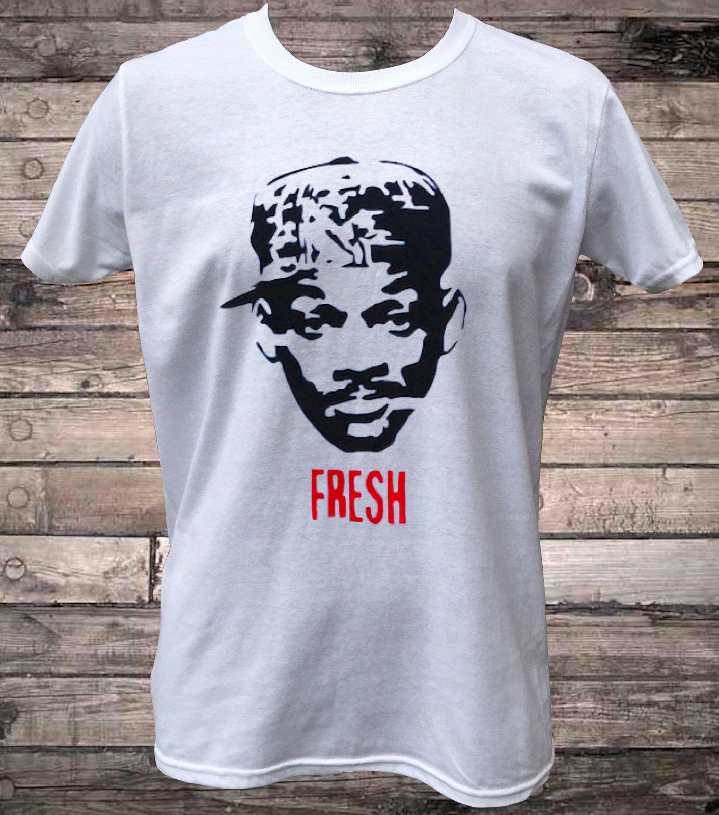 24f4c0c9903b0 Compre Will Smith Príncipe Fresco Camiseta Venda 100% Algodão T Camisa Meia  Idade Básica Tops Branco O Pescoço De Algodão T Camisas De Banbostore