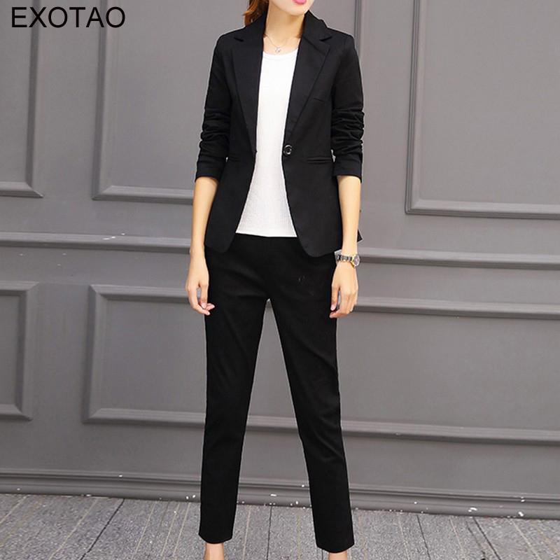 8c4430a3a4 2019 EXOTAO 2017 Plus Size Korean Style Professional Suit Women Short  Blazer Set Ankle Length Pants Suit Long Sleeve Two Pieces From Berniee
