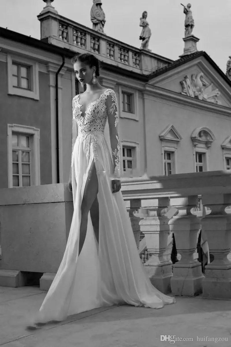 Berta Bride High Slits 2018 Vestidos de boda en la playa Sin respaldo Boho Manga larga Vestidos de novia Bohemio encaje con apliques Por encargo vestidos de novia
