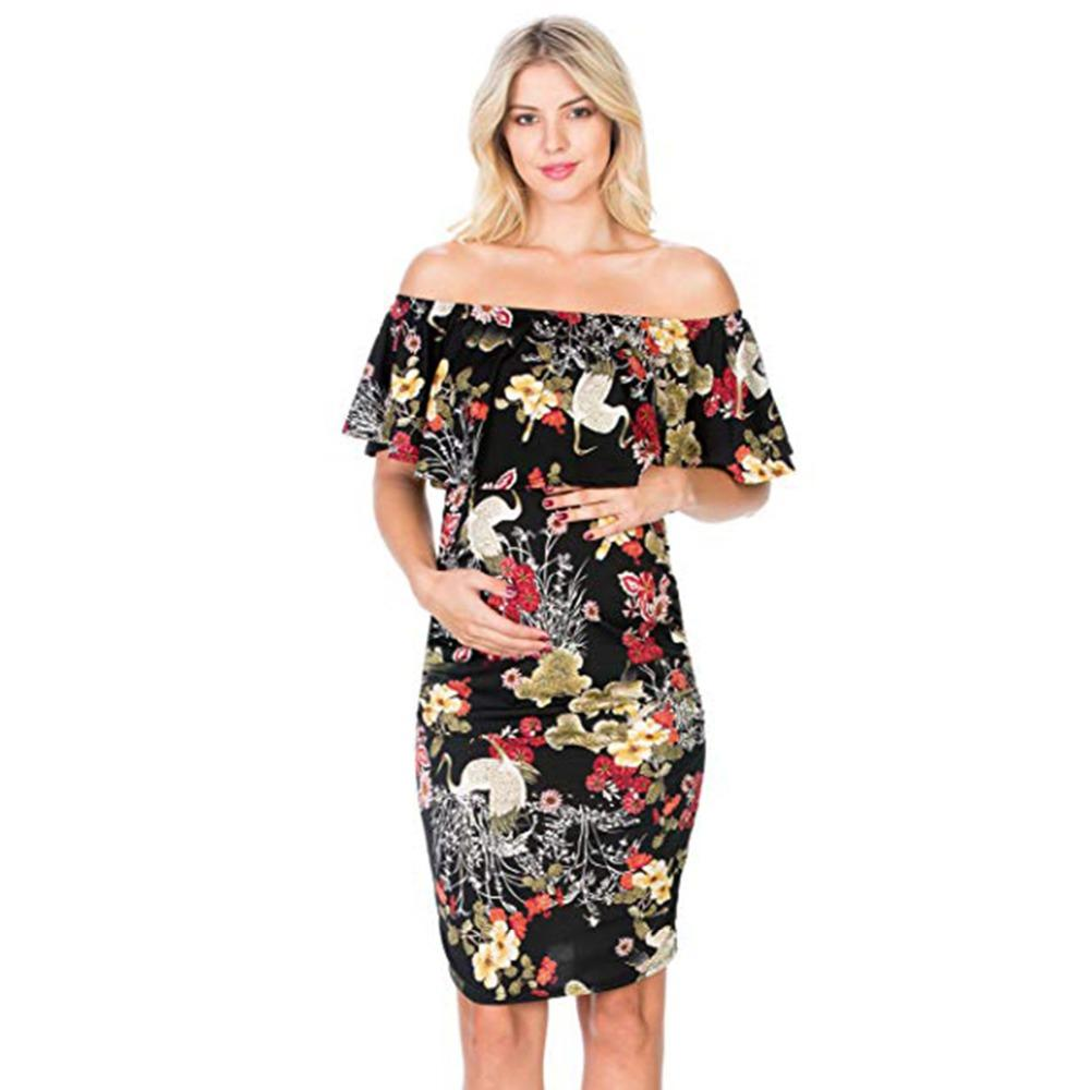 c4ddceaa6a8 2019 Puseky Woman Floral Vintage Ruffle Dress 2018 Sleeveless Women Summer Maternity  Dresses Off Shoulder Bodycon Pencil Dress From Paradise02