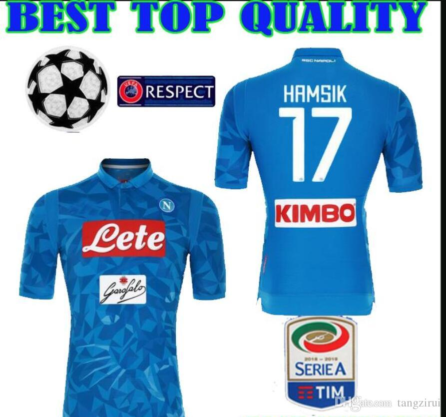 Compre 18 19 Napoli Camiseta De Fútbol Casa Azul 2018 2019 Nápoles  ZIELINSKI HAMSIK INSIGNE MERTENS CALLEJON JUGADOR ROG Champions League  League Camiseta A ... 8ff7060a58be7