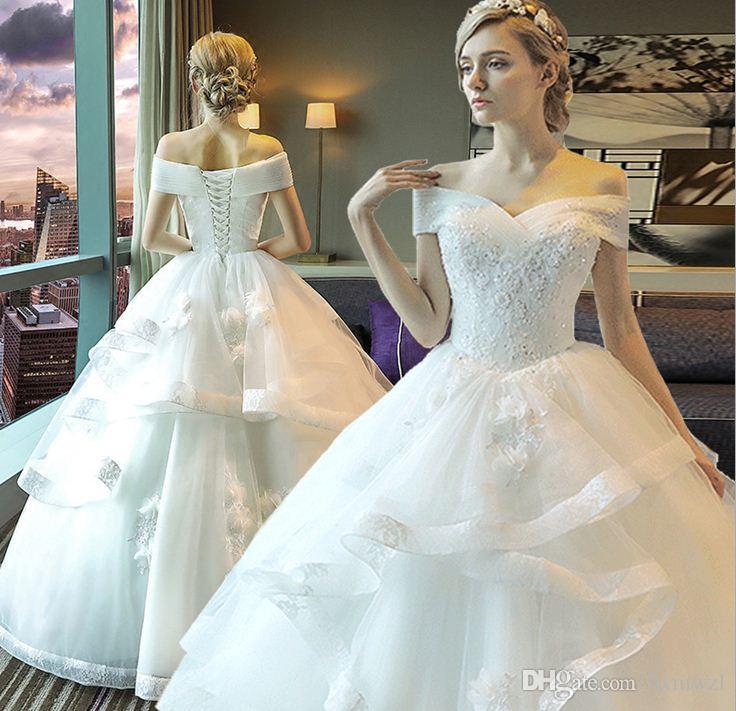 545dde890c3 Beautiful Exquisite Wedding Dress 2018 Winter New Korean Style Floor Length  Lace Fluffy Skirt Off The Shoulder Designer Wedding Dresses Dresses For  Wedding ...