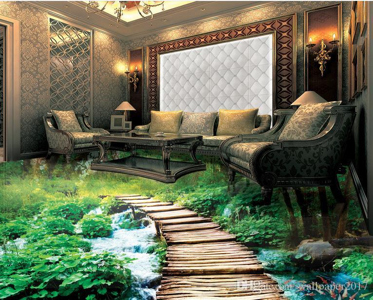 photo papier peint Pont d'eau bain 3D plancher peinture tridimensionnelle revêtement de sol en vinyle salle de bain