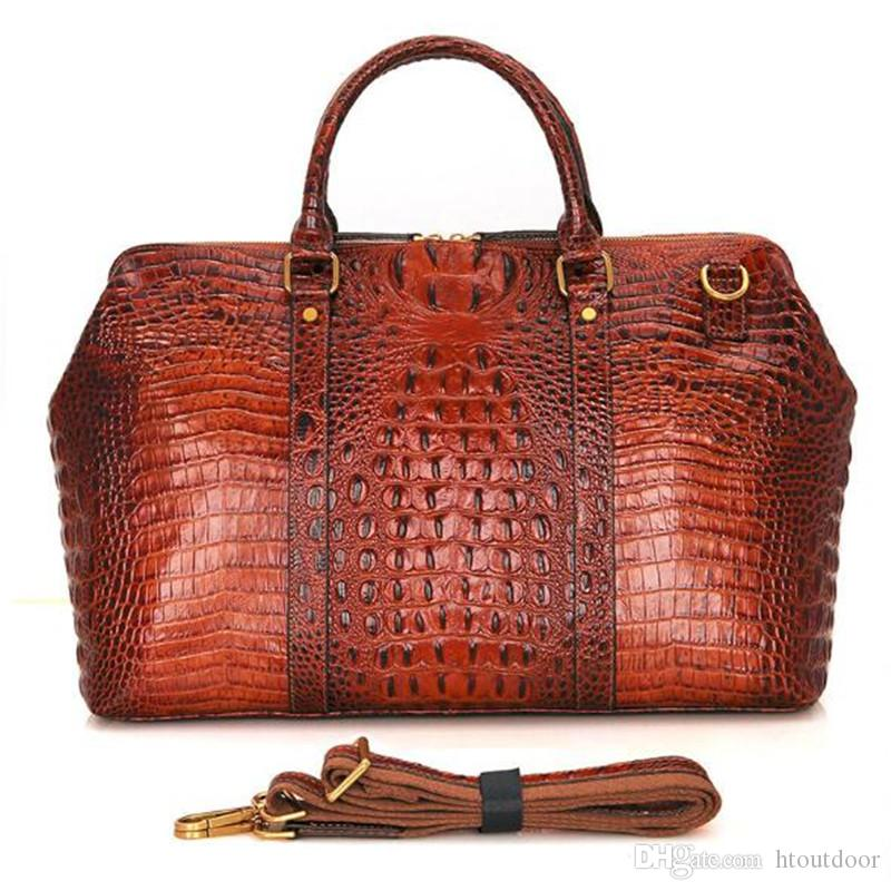 2019 Vintage Genuine Leather Luggage Bag Crocodile Embossed Leather  Overnight Travel Duffle Duffel Weekend Bag Business Laptop Bag From  Htoutdoor, ... 5cb1077645
