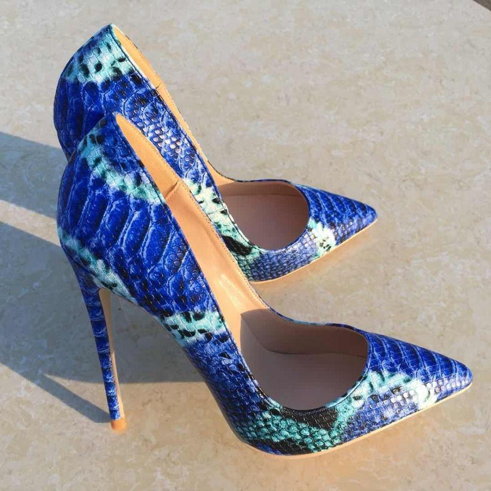 43e58660eba3 Acheter 2018 NOUVEAUTÉ Chaussures Femme Cuir Python Bleu Serpent Imprimé  Sexy Stilettos À Talons Hauts 12cm / 10cm Bout Pointu Femmes Pompes De  $46.24 Du ...