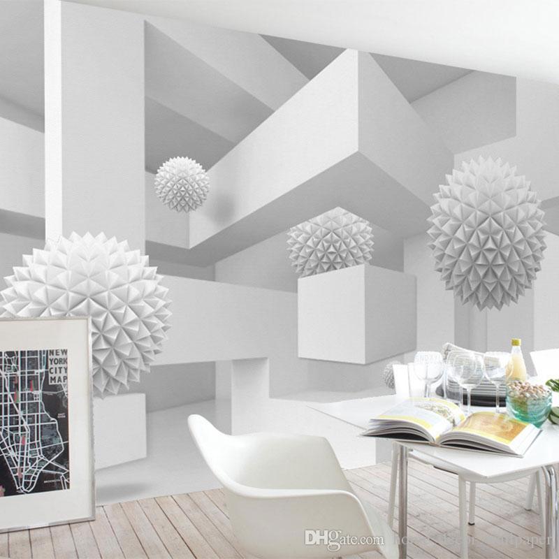 Großhandel Individuelle Fototapeten 3d Weiß Abstrakte Kunst