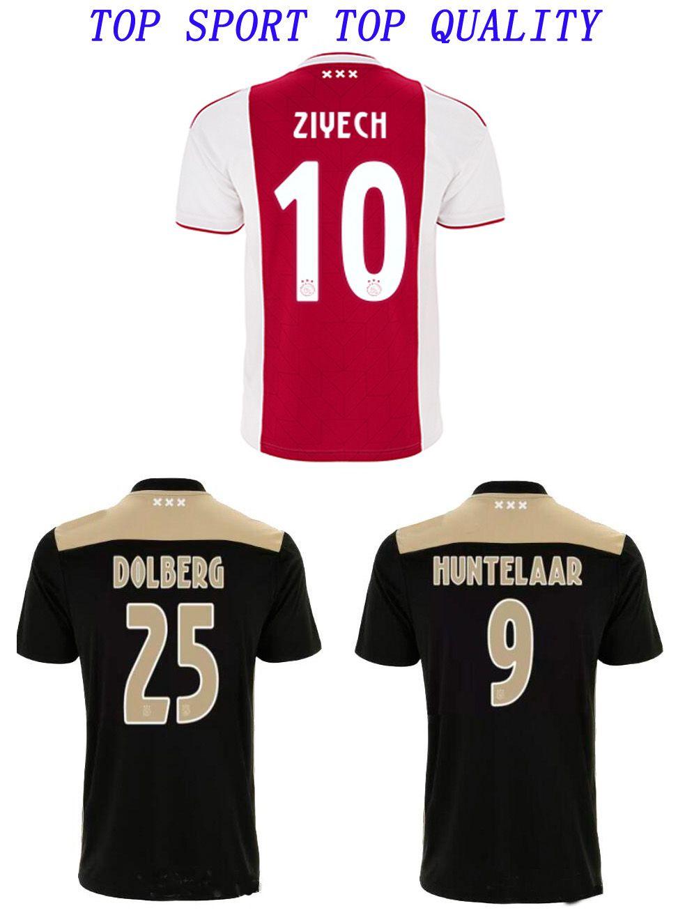 ffa1d8a2b 2019 New Ajax Soccer Jerseys 2018 2019 Ajax FC ZIYECH DOLBERG SCHONE NOURI  HUNTELAAR VAN DE BEEK Football Shirts Adult Thai Quality Soccer Wear From  ...