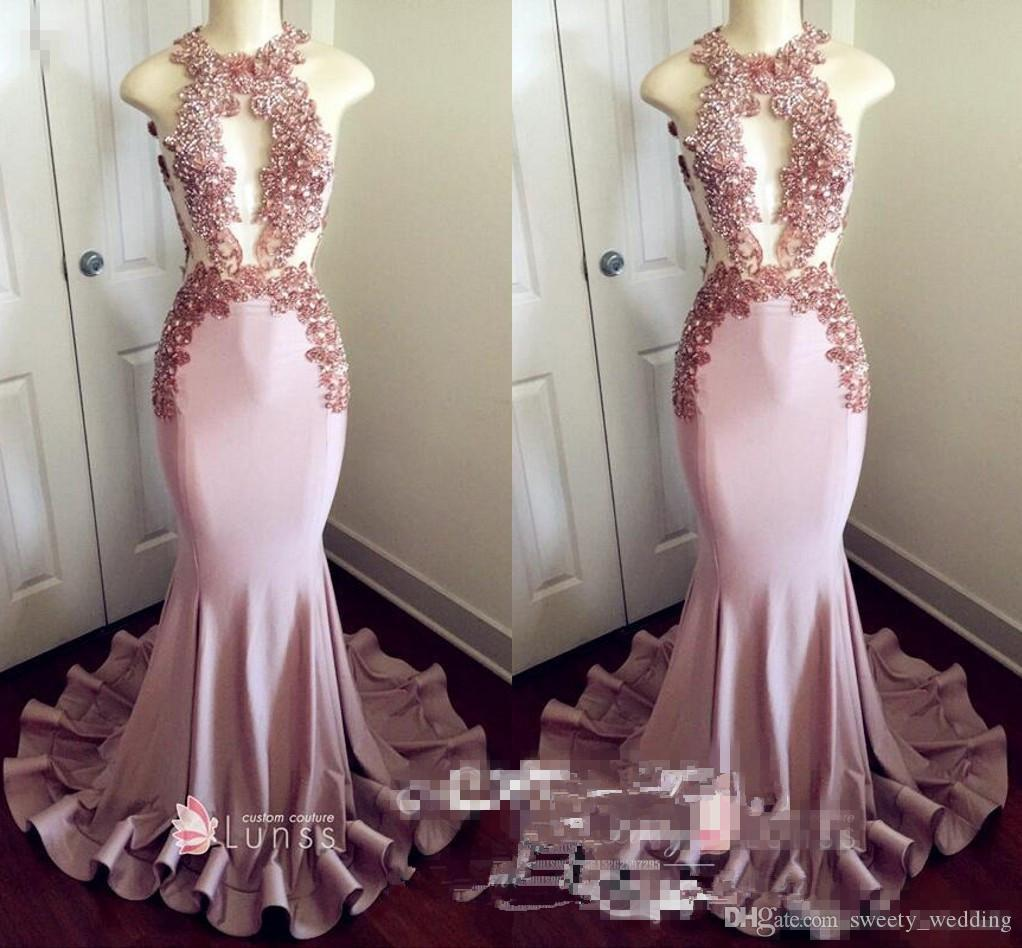 Chic Appliques Beaded Light Pink Prom Dresses For Women 2018 Illusion Sheer Keyhole Neck Long Pleat Mermaid Evening Dress Pageant Gowns