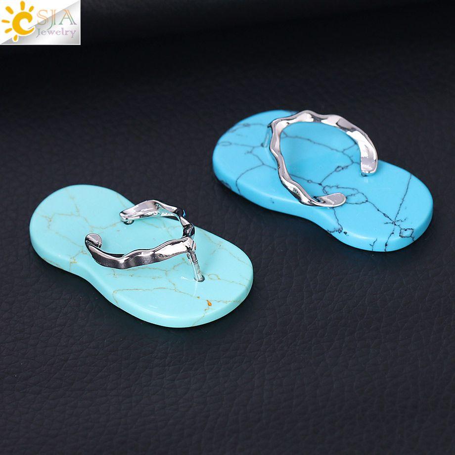 CSJA Amethyst Red Onyx Necklace Pendant Lovely Flip Flop Shoe Summer Sandal Flat Bead Pendants Handmade Charm Jewelry for Girls Boys F332 B