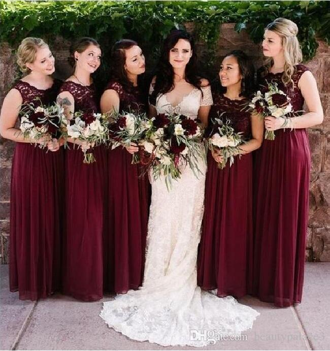 cb63d68d850a Dark Red Chiffon Bridesmaid Dresses For Weddings Lace A Line Sleeveless  Floor Length Junior Party Dresses For Wedding Guest 2019 Custom Made Silk  Bridesmaid ...