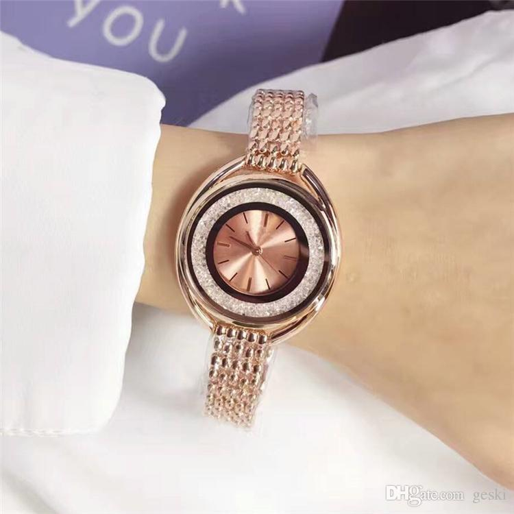 Ultra brand rose gold woman diamond Swa watches 2018 brand luxury nurse ladies dresses female Jewelry buckle wristwatch gifts for girls