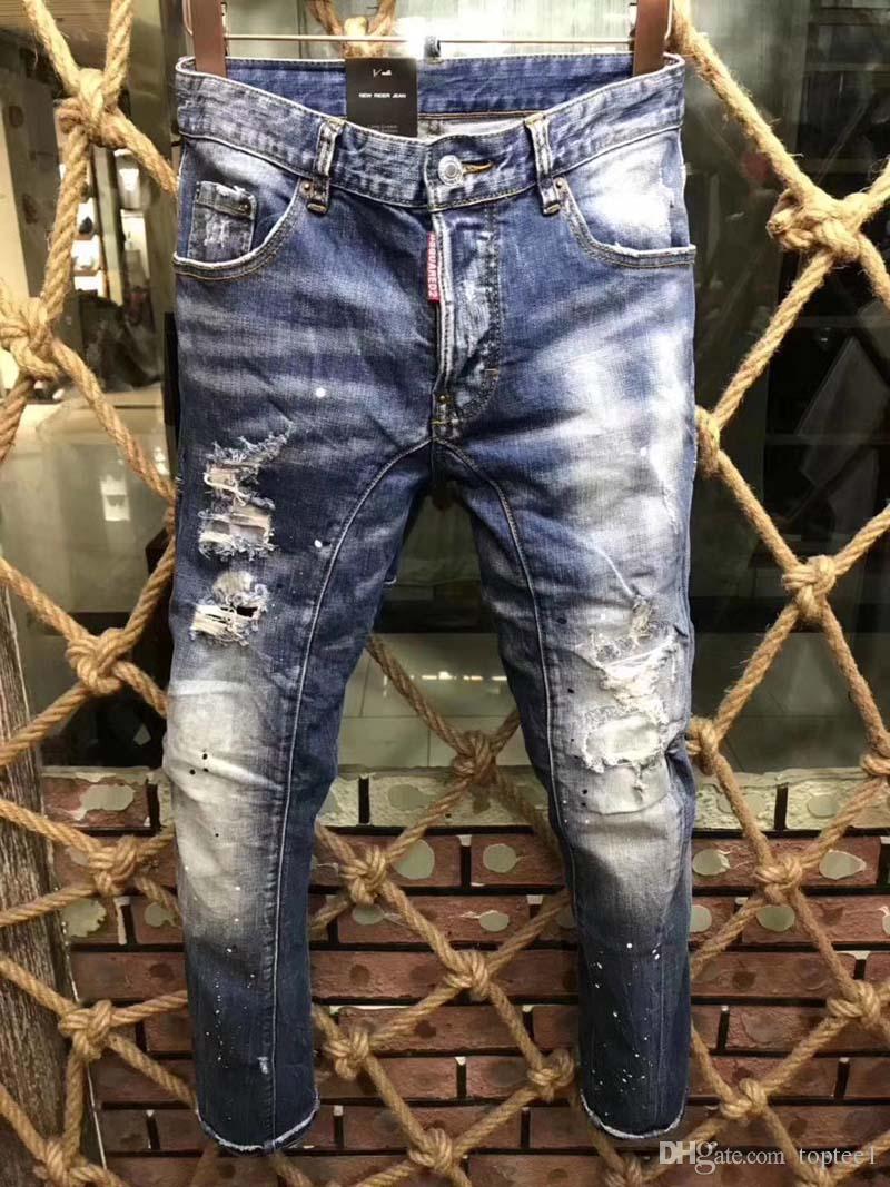 6a4ee0ea2d2 Acheter New Style Marque D Hommes Denim Jean Mode Classique Déchiré  Pantalon Trous D2 Jeans Moto Hommes Biker Jeans Causal Pantalon   D9108 De   50.62 Du ...