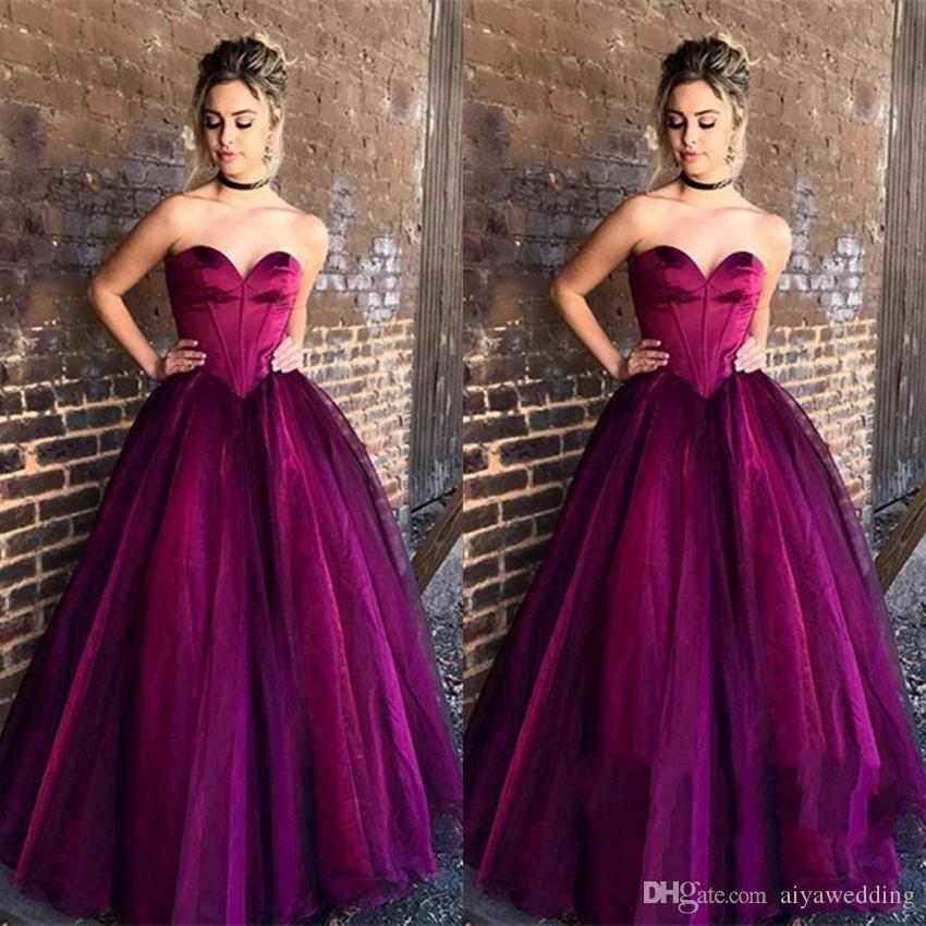 Simple Strapless Ball Gown Prom Dresses 2019 With Sleeveless Sweep Train Long Evening Gowns Occasion Dress for Woman Free Shipping