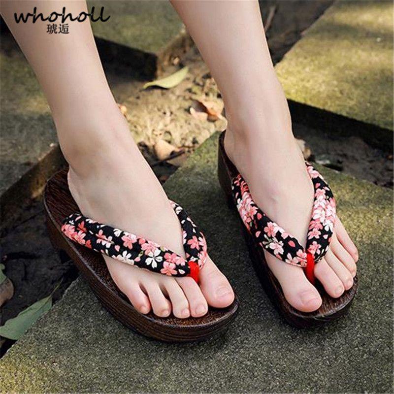 Großhandel Frauen Sandalen Holz Flip Flops Weibliche Sommer Sandalen mit Keilabsatz für Frauen Rutschfeste Strand Schuhe Japanische Geta Clogs Frauen