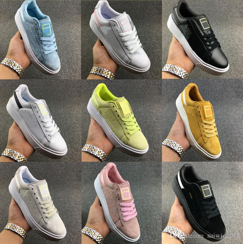 d67b12b079834c New Rihanna Shoes Suede 2 Cleated Creeper Women Black Green Yellow White  Fenty Creepers Trainers Sneaker Running Shoes Basket Platform.