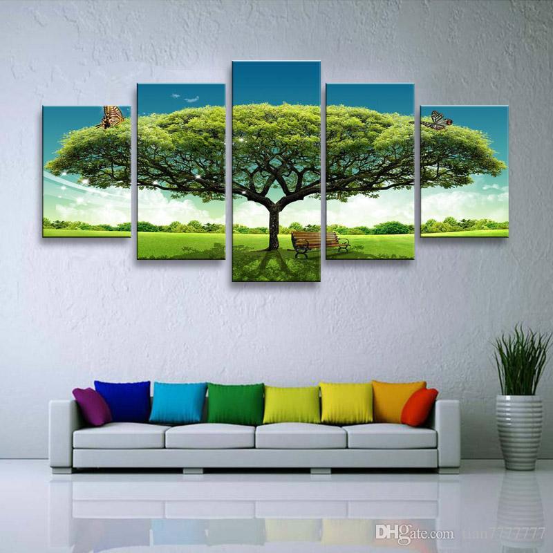 Satın Al Ev Dekorasyon Tuval Boyama 5 Parça Büyük Yeşil Ağacı Yağı