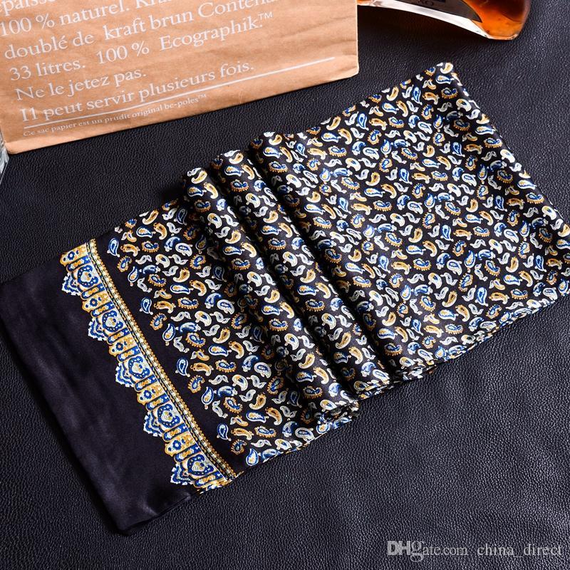 New Vintage 100% Seidenschal Herrenmode paisley Blumen Musterdruck Doppelschicht dot Reinseidensatin Halstücher # 4053