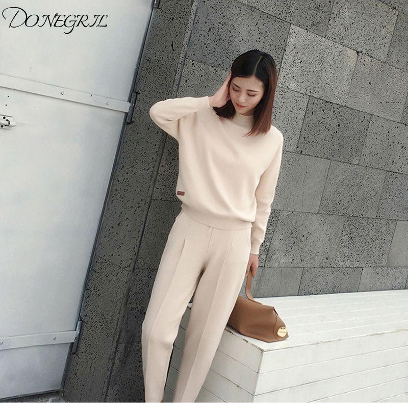 huge selection of 6a57c 158d7 2018new cotone misto cashmere misto maglia donne moda felpe tuta pullover  pant 2pcs / set beige 4 colori S-XL