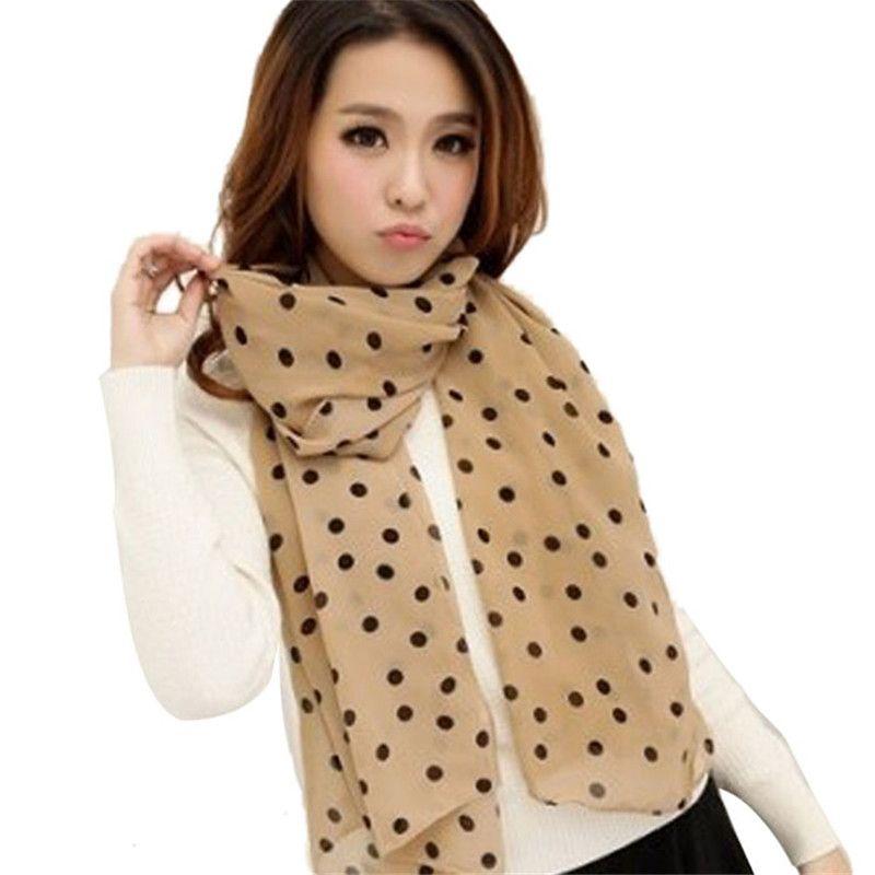women Stylish Girl Long Soft Silk Chiffon Scarf Wrap Polka Dot Shawl Scarve For Women Beach capes Shawls and stoles Silk scarf