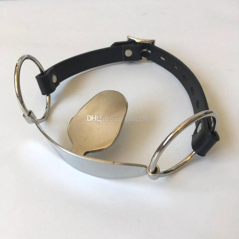 Stainless Steel Open Mouth Gag Tongue Flail Sex Slave BDSM Bondage Restraints Fetish Sex Toys For Couples Erotic Toys Adult game