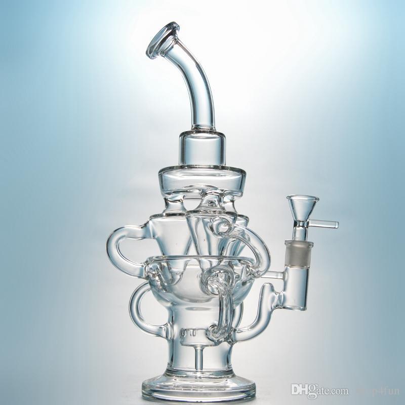 Vortex bong reciclador tubulações de água de vidro Triplo ciclone inline braço único dab rigs com 14mm conjunta grande bongo grossas plataformas de petróleo roxo waterpipe