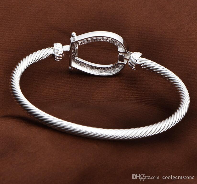 Luckyshine Unique Antique White Cubic Zirconia 925 Sterling Silver Open Bangles Russia Australia USA Bangles Bracelets Jewelry