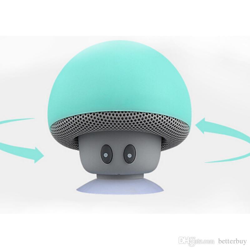 최고 품질의 버섯 블루투스 스피커 자동차 스피커, 빨판 미니 휴대용 무선 핸즈프리 서브 우퍼 무료 배송