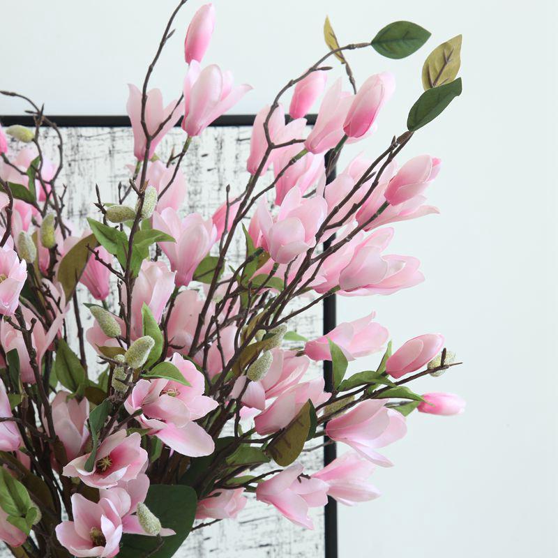 2019 Artificial Magnolia Flower Branch White Fake Silk Flores
