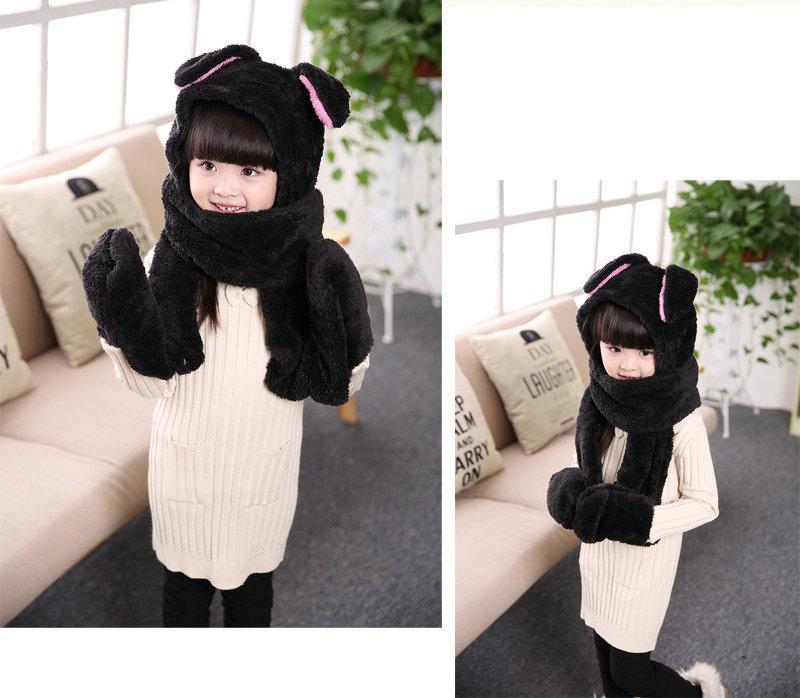 Lovely New children Warm Plush Children Hat Scarf Gloves One Piece Thick Scarf,Fashion cartoon kids one-piece gloves hat scarf