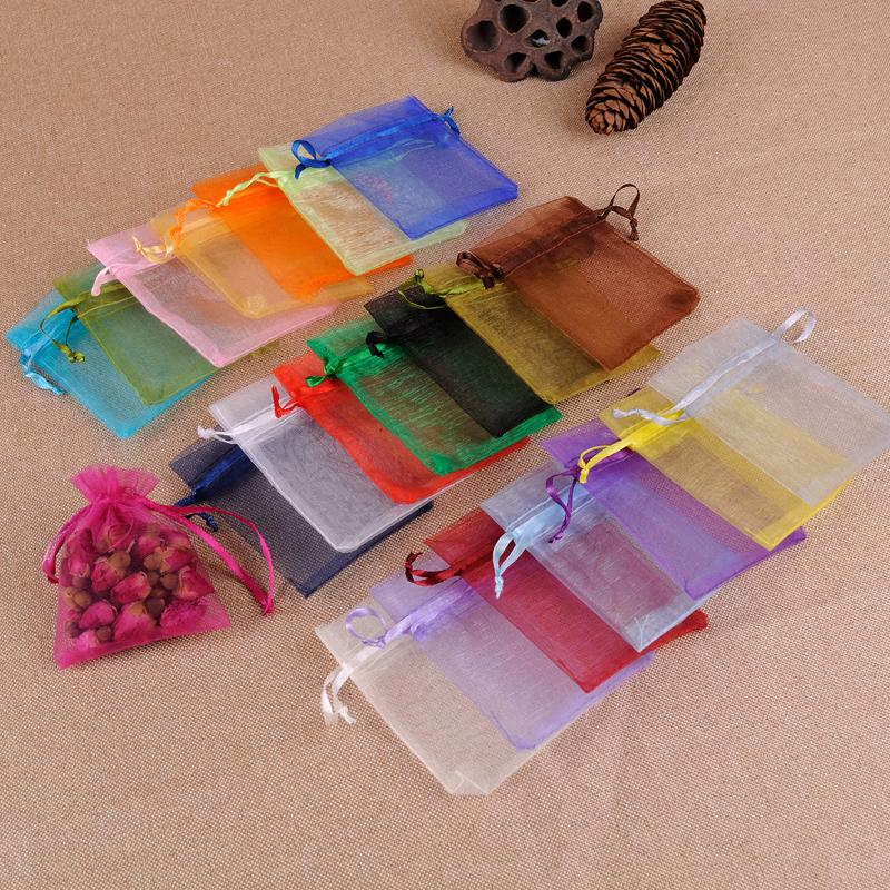 100pcs 7x9 Cm Organza Bags Wedding Pouches Jewelry Packaging Bags Nice Gift Bag ww