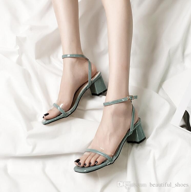 2018 The latest women's low-heeled shoes formal occasion fashion wild elegant classic transparent tape female sandals ball party shoes