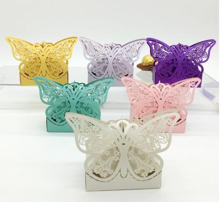 Baby Shower Butterfly Hollow Candy Boxes Laser Cut Wedding Party Gifts Favor Boxes Chocolate Bags Cake Boxes