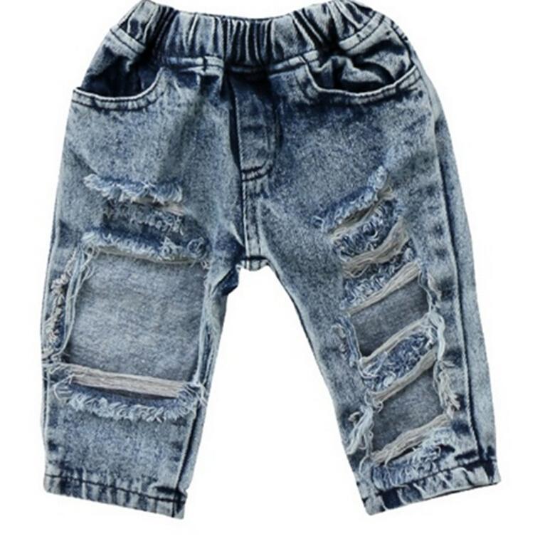 7ca9027c4ac49 Acheter Enfant En Bas Âge Enfants Enfant Filles Mode Denim Pants Stretch Pantalon  Élastique Jeans Trou Déchiré Vêtements Bébé Fille 1 5T De $33.81 Du ...