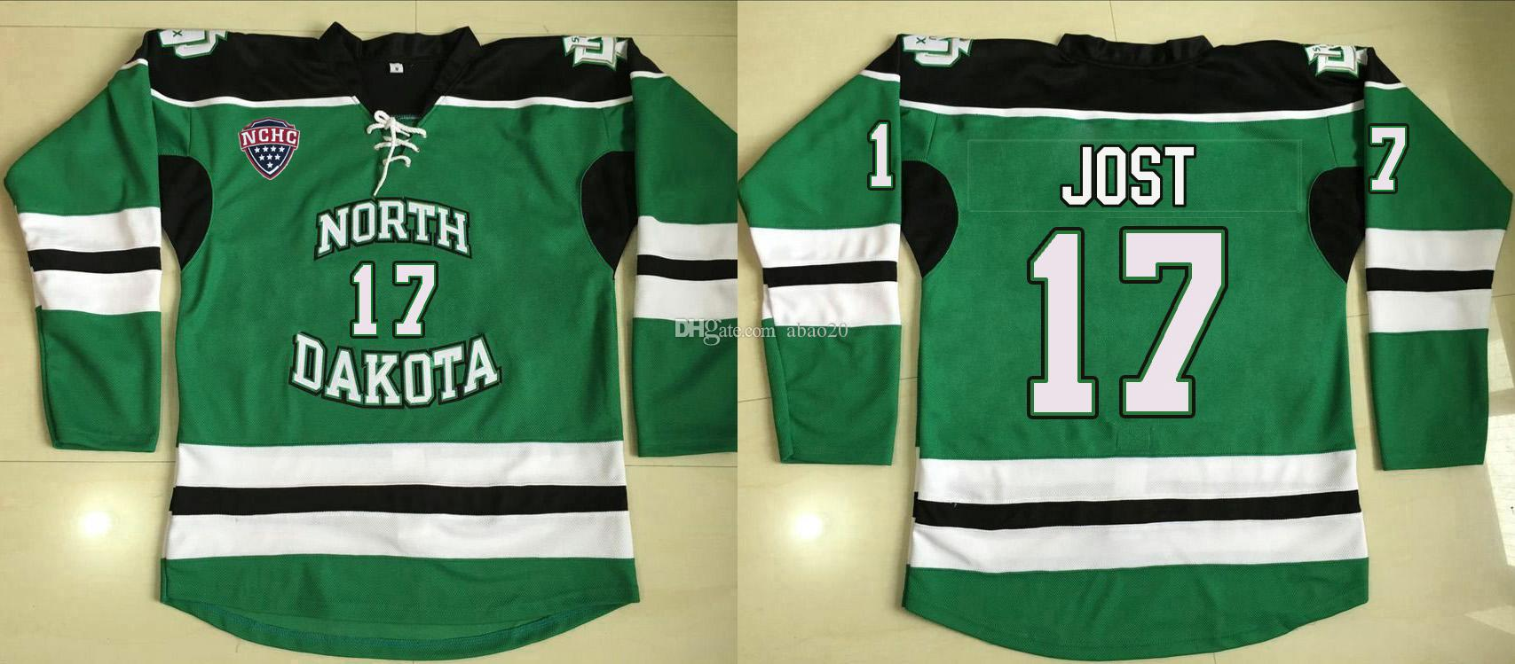 2019 University Of North Dakota Fighting Sioux  17 Tyson Jost Green Hockey  Jersey Embroidery Stitched Customize Any Number And Name Jerseys From  Abao20 5e8fce76f
