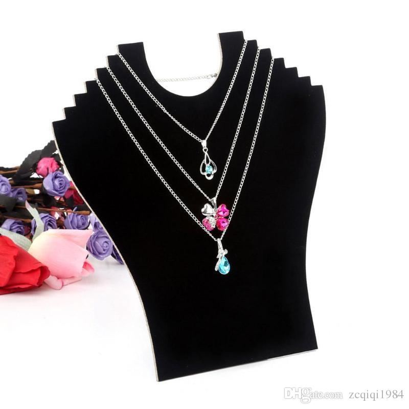 Unique design fashion style Easel Black Necklace Bust Display Holder Stand Velvet Jewelry Pendant Chain Display