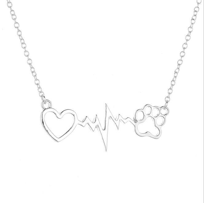 Hot Eu Amo Meu Cão Eletrocardiograma Médica ECG Coração Bonito Pet Lover Dog Cat Paw Imprimir Pingente Heartbeat Jóias Colar Memorial