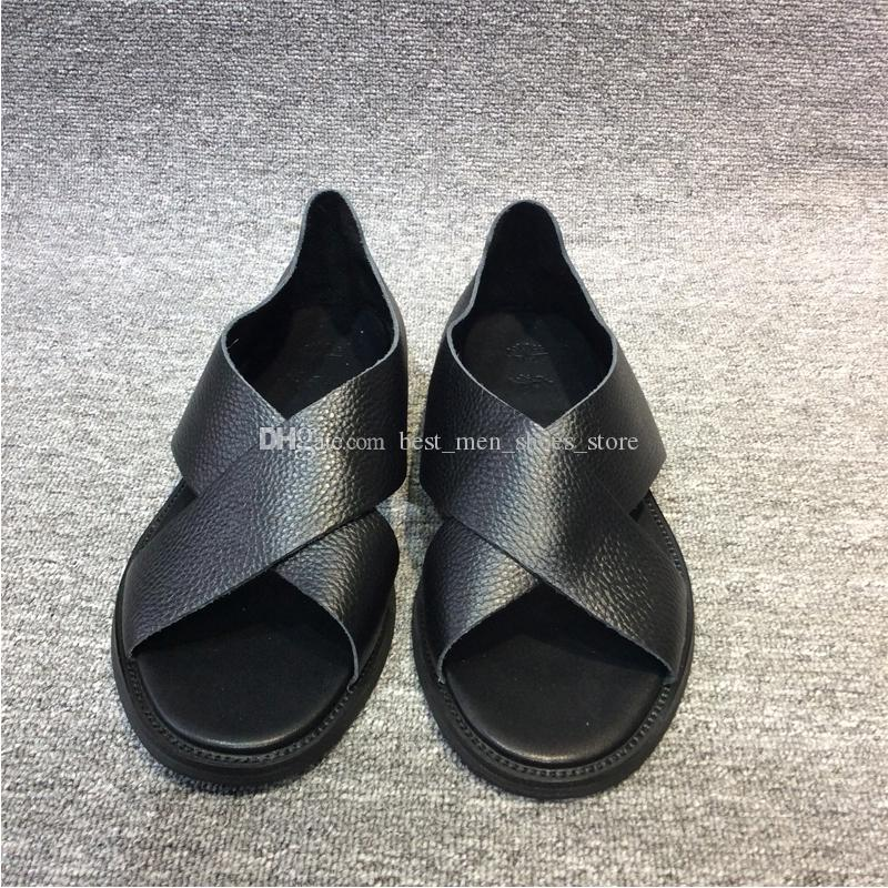 ac4830685f44 New Criss Cross Men Rome Gladiators Cow Full Grain Leather Flat White Black  Ladies Sandals Summer Beach Shoes Ladies Shoes Red Shoes From ...