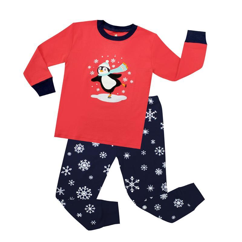 897878ed7f03f Acheter Manches Longues En Coton Pingouin De Noël Pyjamas Ensembles Enfants  Pijamas De Noël Pyjamas Unicornio Bébé Filles Vêtements Pyjamas Enfants  Pyjama ...