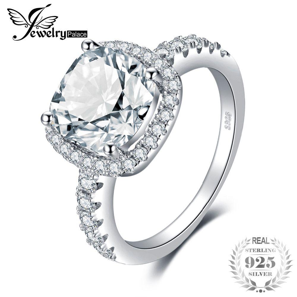 Bijoux Jewelrypalace Argent Mariage Halo Pour En De 925 Sterling 2018 Bague New Coussin Hot 3ct Y18102610 Solitaire Fiançailles 8Pn0kXwO