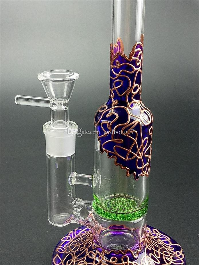 Flush purple socket glass water bong with golden stripe and green Perc & Honeycomb filter net Dab Oil Rigs
