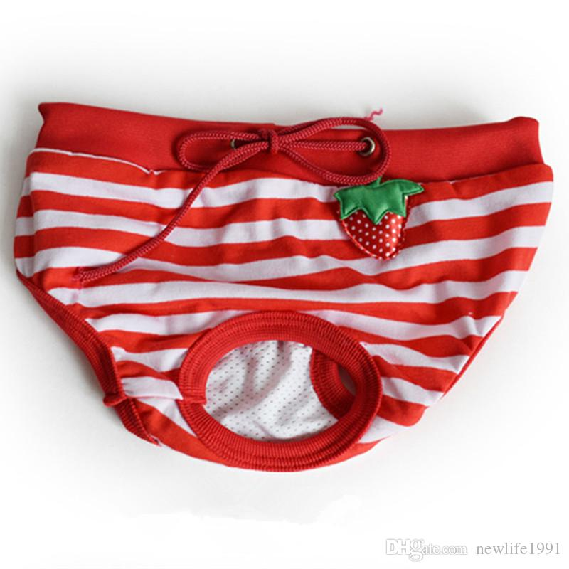Cute Dog physiological Panties Puppy Comfortable Anti-harassment Underpant Striped Pet Dog Underpants Cotton Pants New 2018 Free Ship