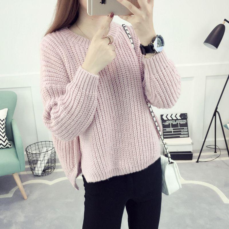 New 2017 Autumn Winter Casual O-neck Warm Women Sweaters and Pullovers Batwing Sleeve Short Knitted Sweater Loose Pull Femme