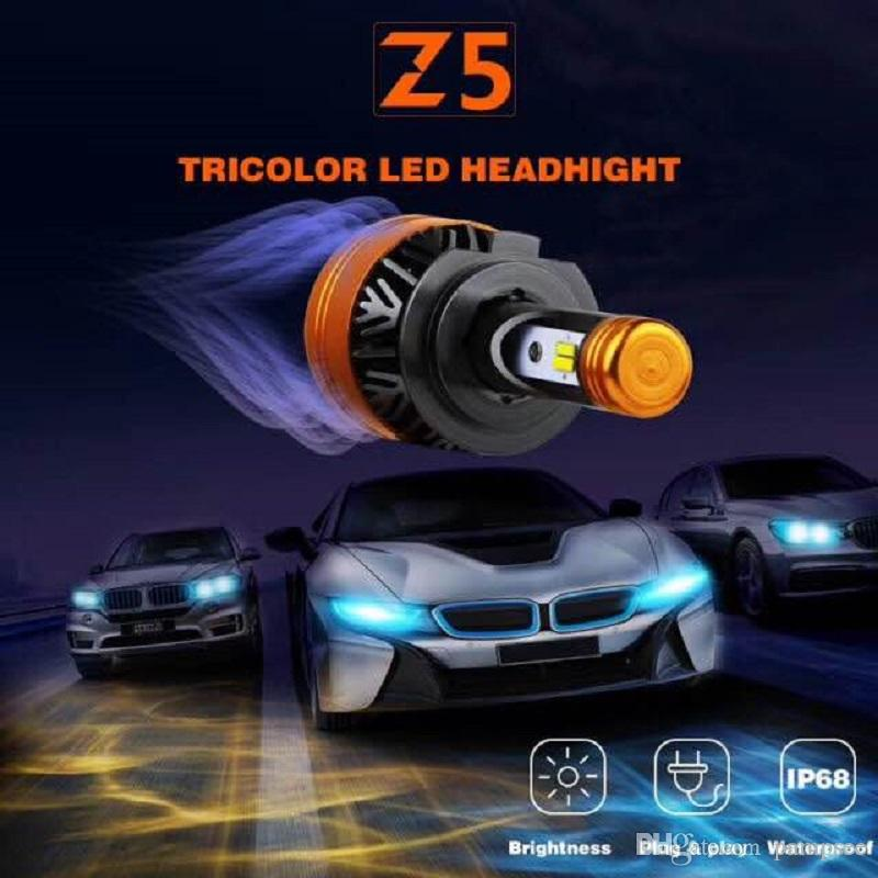 PAMPSEE Auto Tricolor LED Scheinwerfer Z5 H1 H4 H7 H11 100W 5800LM Flip Chips 3000K 4300K ​​6000K Switch LED Lampen